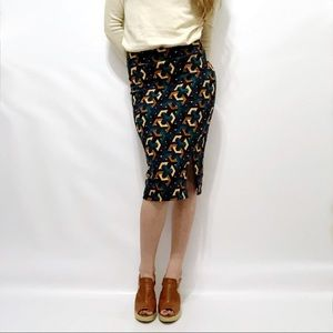Anthro Maeve Geo-Print Textured Midi Skirt